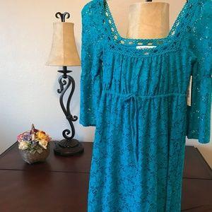 Boho blue lace mini dress by Laundry NWT